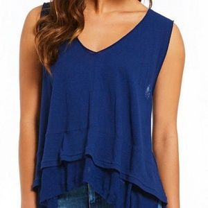 Free People Peachy Tee Top Sz XS Navy Tiered